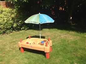 Sand and water play table by step 2 with cover and shade umbrella
