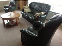 Green 3 Piece Suite - Electric Recliner chair and footstool