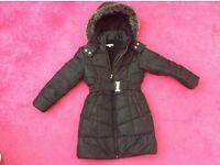 Girls black padded jacket age 7/8
