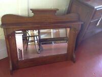 Oak over mantle mirror