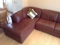 Corner Sofa Brown Leather
