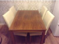 Dining table walnut wood effect with x4 faux leather chairs