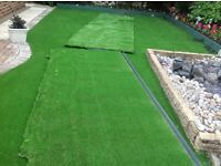 Artificial grass surplus can be seen laid