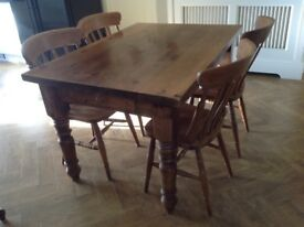 Pine rustic farmhouse table and chairs