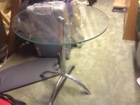 Bistro style glass table with crome legs