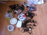 A bag of leads, cables, connectors, etc