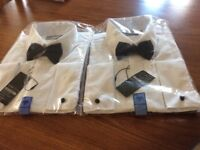 2 Men's Formal Shirts, size 17 (43cms) collar, white with black bow ties, in original wrappings.