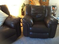 Leather armchair and three seater sofa.
