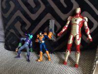 Batman, Ironman and the green goblin action figures