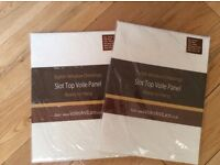2 BRAND NEW Ready To Hang White Top Slot Voile Curtain Panels (In Sealed Unopened Packaging)
