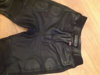 Ladies black leather motorbike trousers