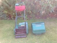 Qualcast Classic cylinder mower serviced. Also Qualcast E320 Easi Track hover mower.