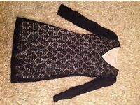 Black lace lined dress size 10