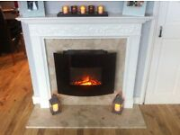 Fire surround with marble back plus electric fire