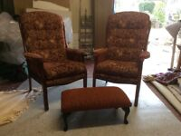 Pair of chairs with footstool