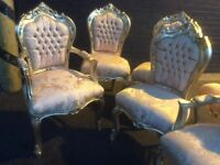 Beautiful gold French style chair with arms