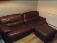 Brown leather 3 seater sofa and foot stool