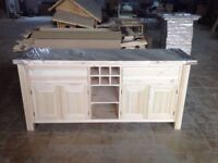 Solid Pine Island Unit with wine rack and full width shelf Can be painted, choice of worktops