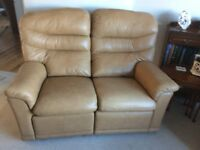 G Plan beige leather 2 seater sofa with recliner, plus footstool to match