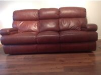 Chestnut Leather 3 Seater Sofa + Electric Recliner