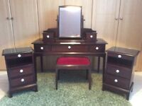 Stag Bedroom Furniture to include dressing table bedside units with cut glass tops swivel mirror