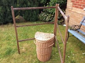 Lovely linen basket wicker with old fashioned clothes horse