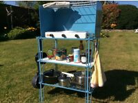 Gas cooker top and stand