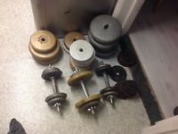 90+kg weights for dumbells plus weight bench