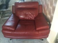 Dark red leather sofa