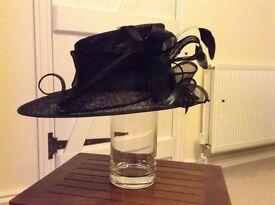 Ladies black asymmetric formal hat