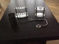 Chrome tooth brush holders, beaker and toilet roo holder