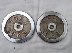 2 x 10kg York Chrome Standard Weights