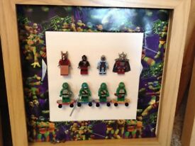 Turtles figures in and Oak frame