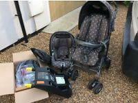 Mamas and papas pilko pramette, car seat and isofix base.