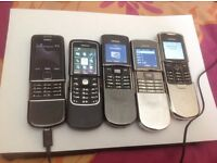 8x NOKIA PHONES CLASSIC-8800 ARTE, 2x 8800 SIROCCO, 8800,8600 LUNA, 8910i,8810,8910