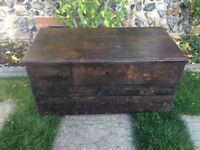 Vintage pine blanket box / ottoman / tool chest