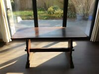 Solid oak refectory dining table