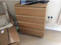 Ikea oak 4 drawer chest of drawers