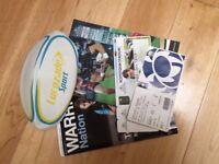 Rugby Union Pro 14 Memorabilia inc Flags Mini Ball Programmes Tickets (Glasgow Warriors Scotland)