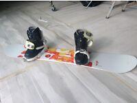 Burton Feather 49 ladies snowboard, Vans size 7 Boots, Salomon Grace Bindings