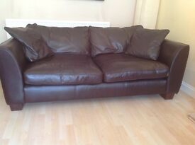 Luxury Chocolate fully Aniline Leather 4 & 3 Seater Sofas, natural markings with matching footstool