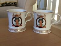 2 House of Vanguard Queen Elizabeth Golden Jubilee Commemorative Mugs