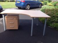 Computer table and matching lockable 3 drawer cabinet. Reduced price for quick sale