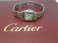 GENUINE LADYS CARTIER PANTHERE TWO ROW GOLD & STAINLESS STEEL BEAUTIFUL VINTAGE CARTIER