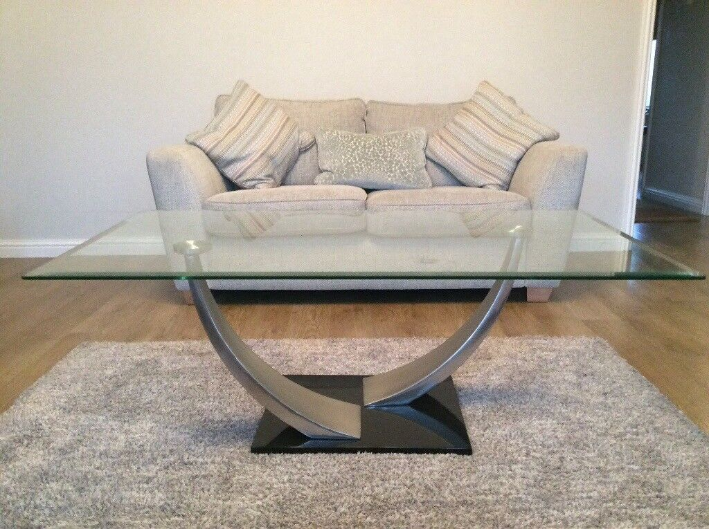 Cesar Clear Glass Coffee Table With Marble Black Base