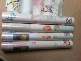 NEW 4 rolls wallpaper, birds,flowers, vintage style.
