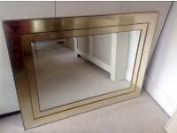 Large gold rectangular mirror
