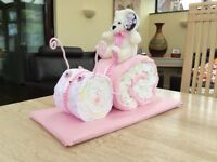 BABY SHOWER/NEWBORN GIFT, PINK SNAIL NAPPY CAKE