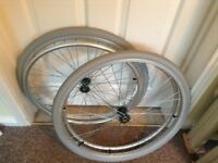 Wheelchair quick release rear wheels c/w tyres