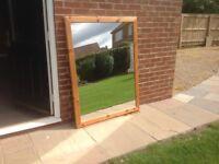 Large pine mirror.